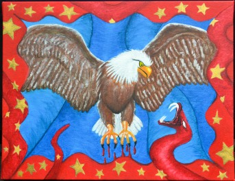 Eagle and Snake Patriotic Painting
