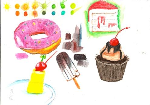 inktense practice desserts