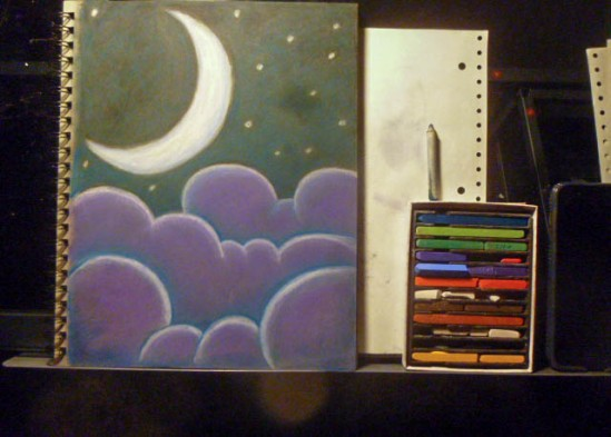 nupastels moon and clouds