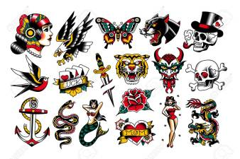 Set Of Old School Tattoo Designs